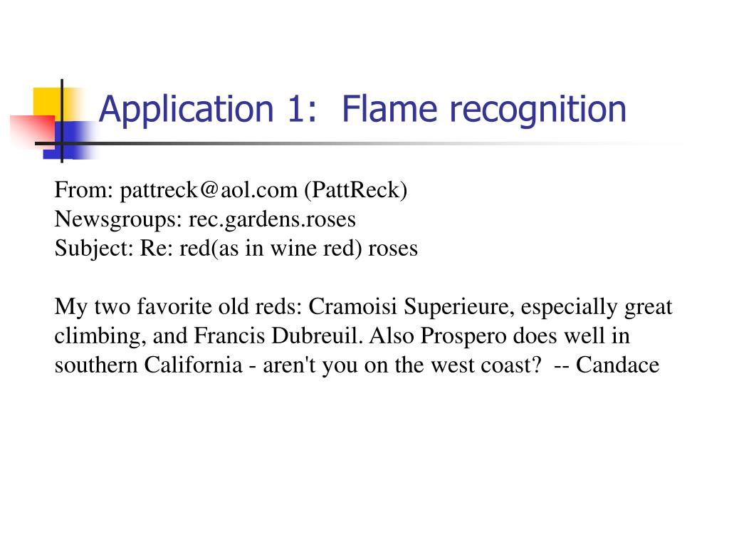 Application 1:  Flame recognition