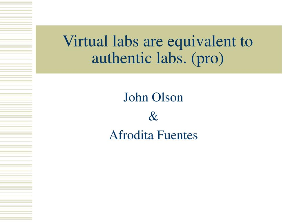 virtual labs are equivalent to authentic labs pro l.
