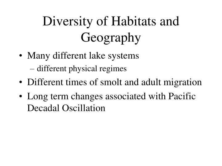 Diversity of Habitats and Geography