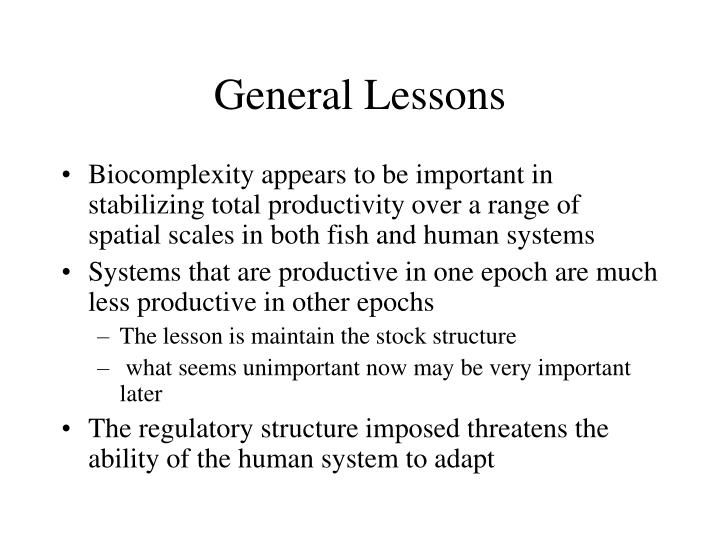 General Lessons