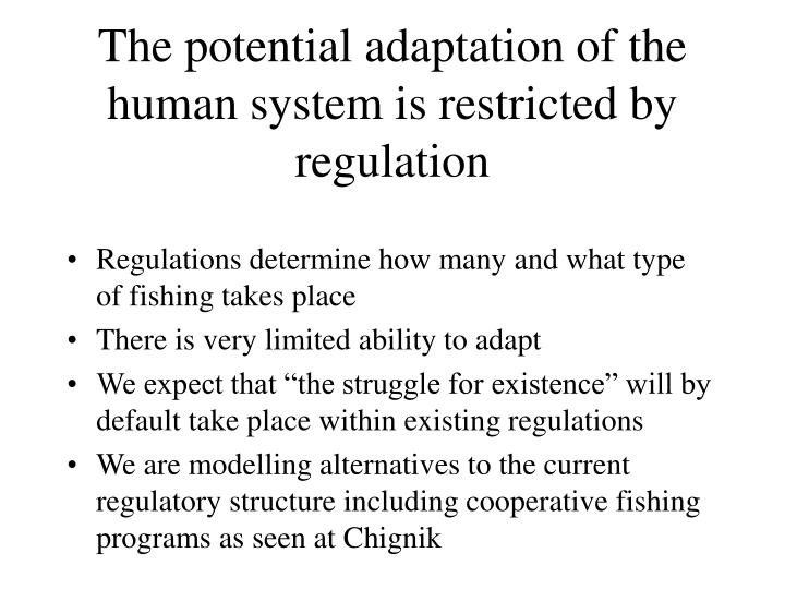 The potential adaptation of the human system is restricted by regulation