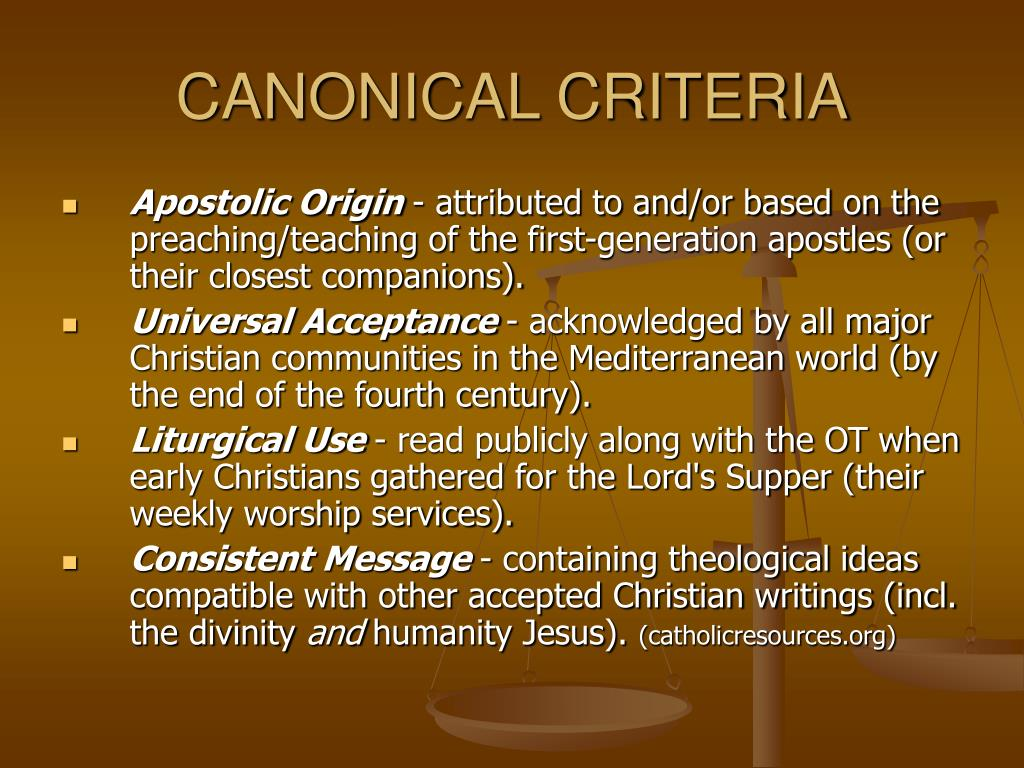 CANONICAL CRITERIA