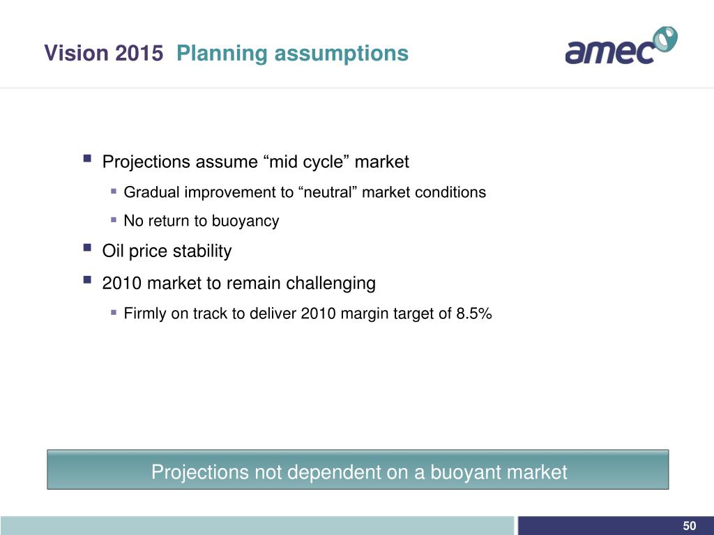Projections not dependent on a buoyant market