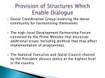 provision of structures which enable dialogue6