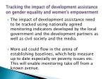 tracking the impact of development assistance on gender equality and women s empowerment