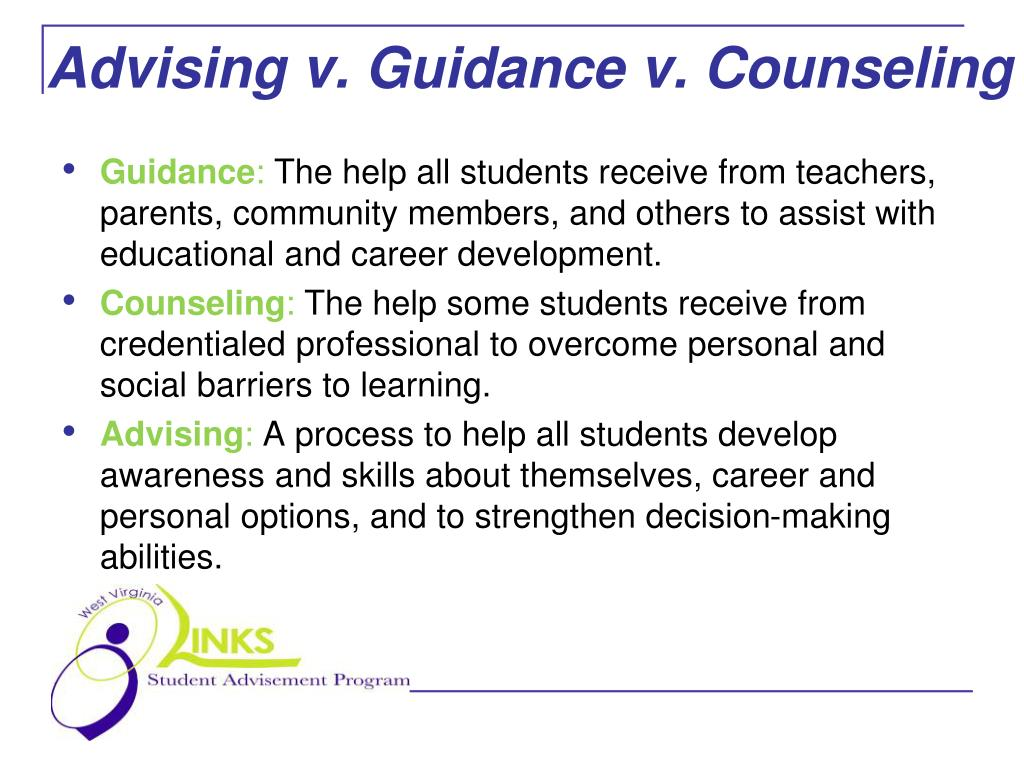 Advising v. Guidance v. Counseling