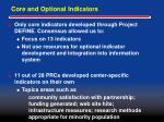 core and optional indicators
