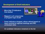 development of draft indicators