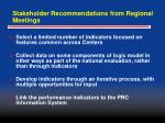 stakeholder recommendations from regional meetings