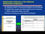 stakeholder selection of the national performance indicators