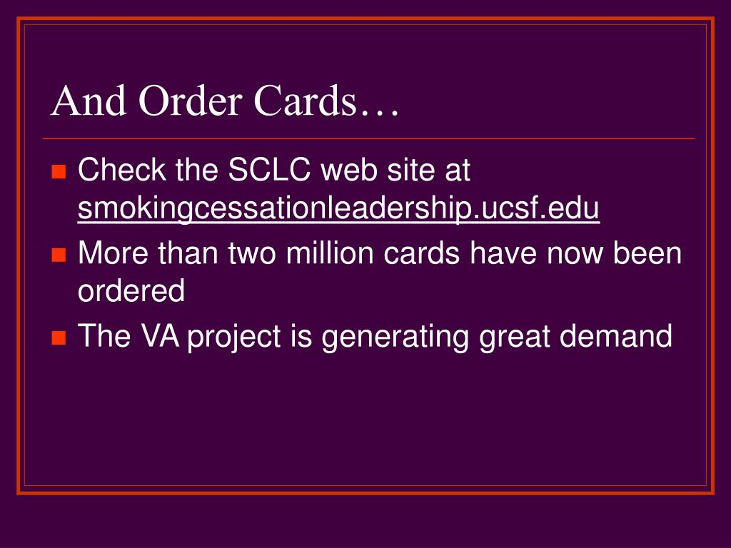 And Order Cards…