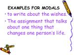 examples for modals