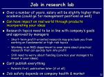 job in research lab