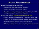more on time management
