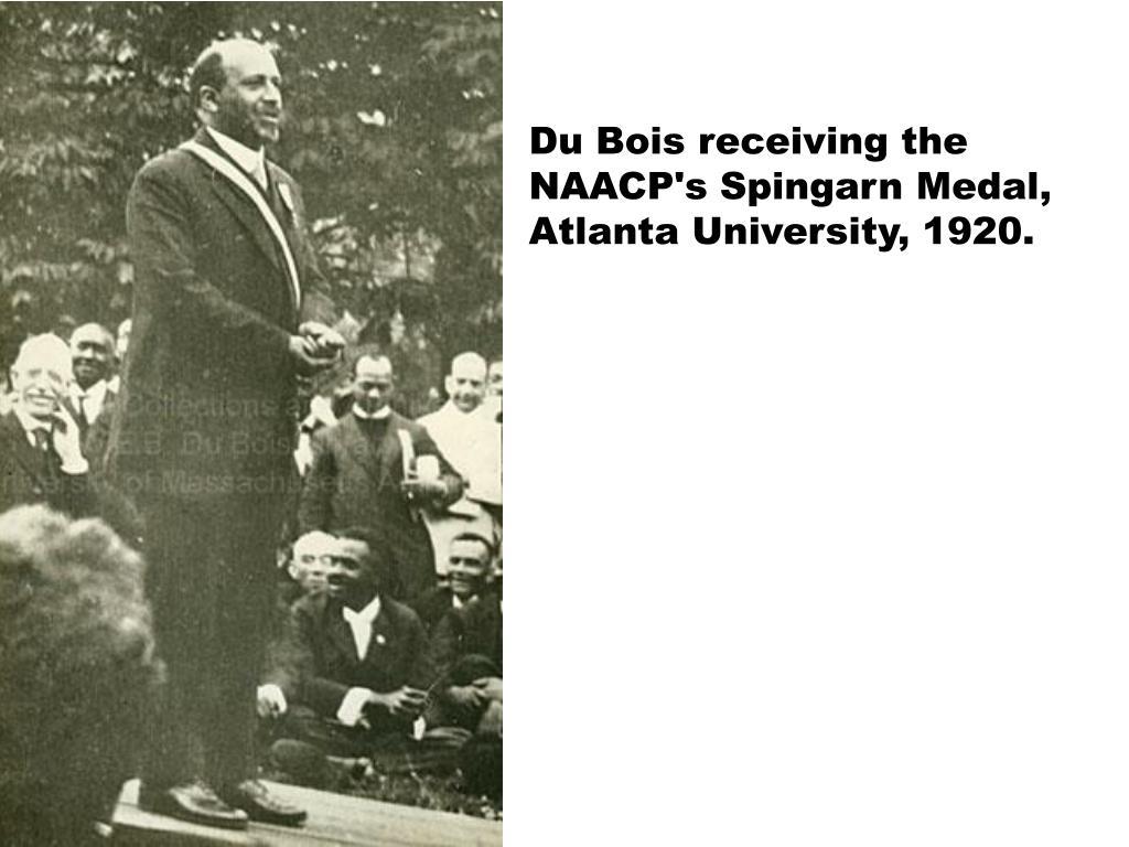 Du Bois receiving the NAACP's Spingarn Medal, Atlanta University, 1920.