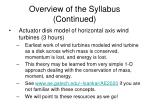 overview of the syllabus continued