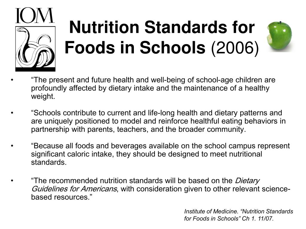Nutrition Standards for Foods in Schools