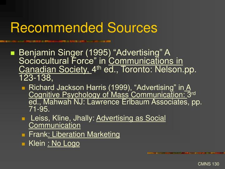 Recommended Sources