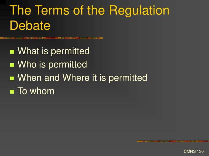 The Terms of the Regulation Debate