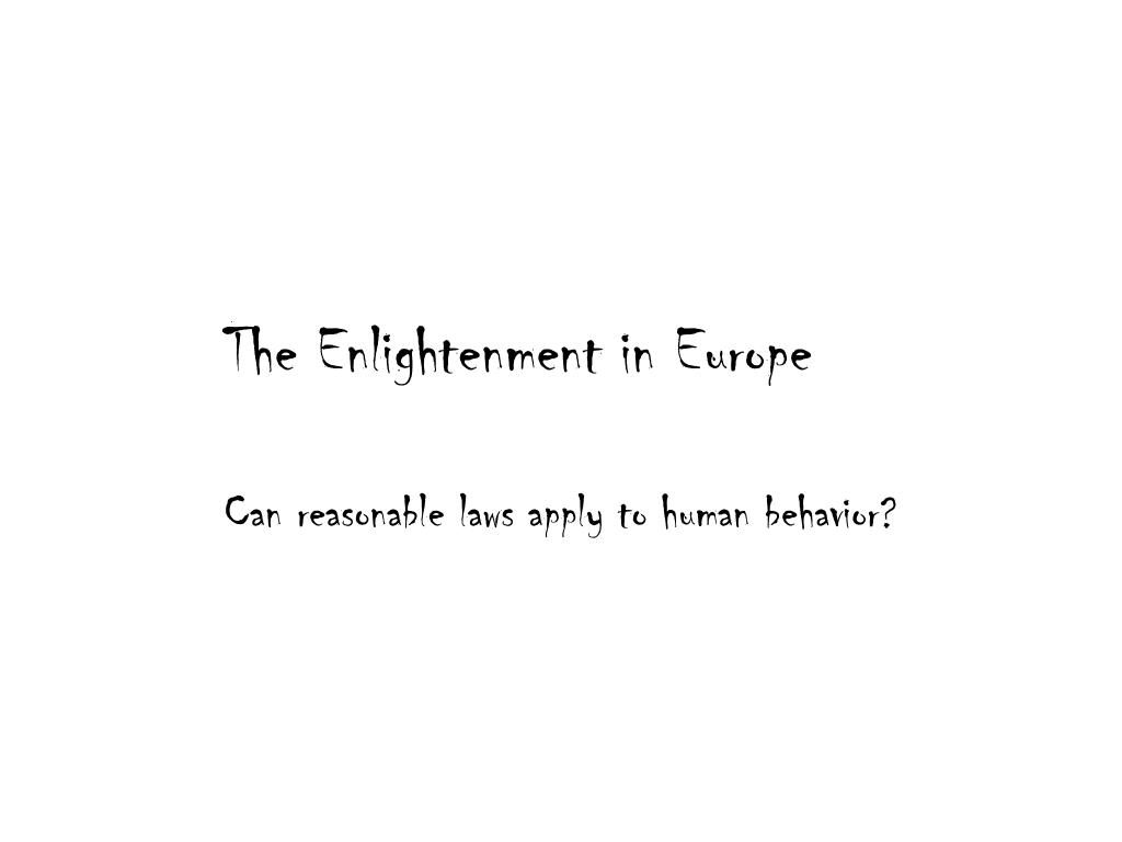 the enlightenment in europe l.
