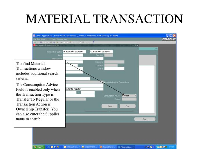 MATERIAL TRANSACTION