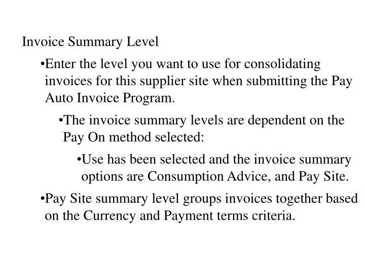 Invoice Summary Level