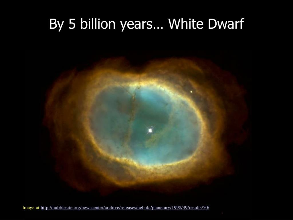 By 5 billion years… White Dwarf