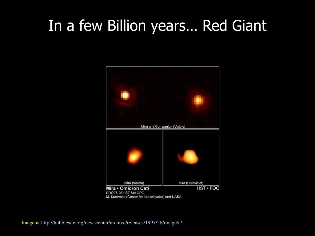 In a few Billion years… Red Giant