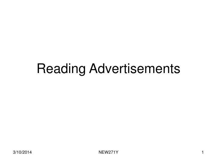 Reading advertisements
