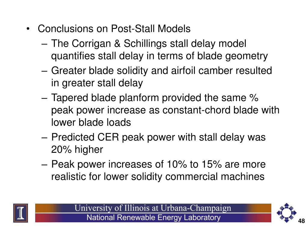 Conclusions on Post-Stall Models