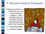 f decision analysis techniques