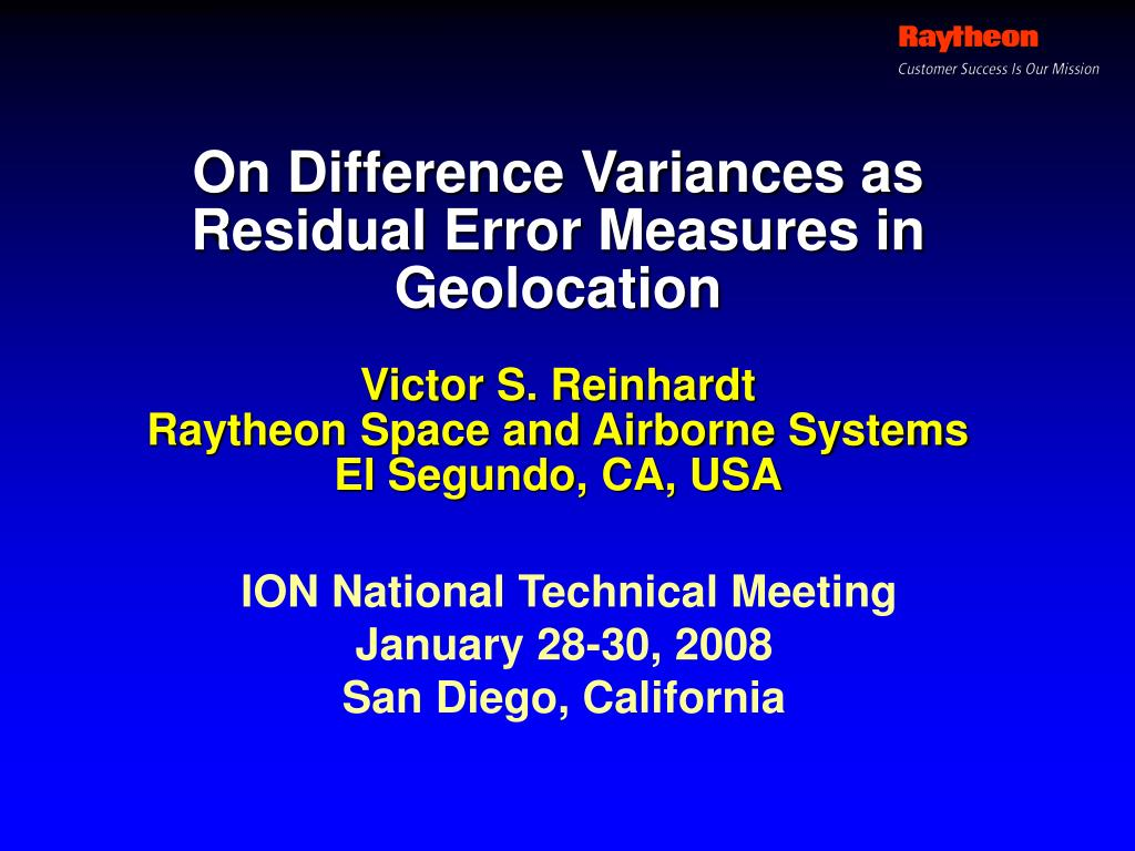 on difference variances as residual error measures in geolocation l.