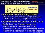 summary of spectral properties of r w errors with respect to l x f