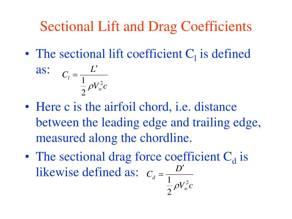 Sectional Lift and Drag Coefficients