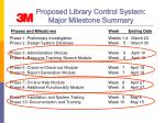 proposed library control system major milestone summary16