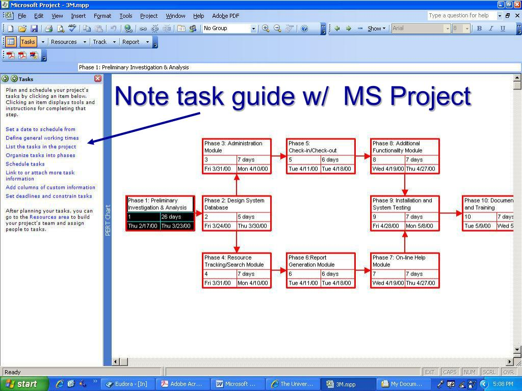 Note task guide w/  MS Project