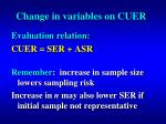 change in variables on cuer