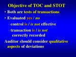 objective of toc and stot