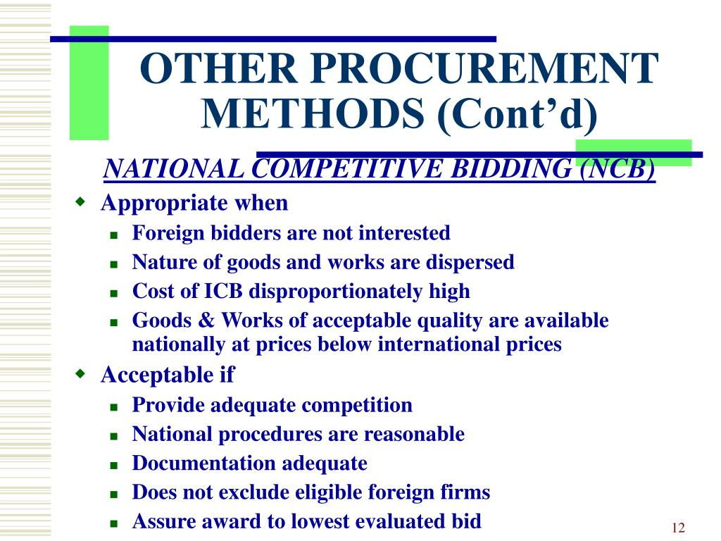 OTHER PROCUREMENT METHODS (Cont'd)
