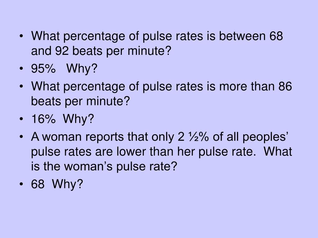What percentage of pulse rates is between 68 and 92 beats per minute?