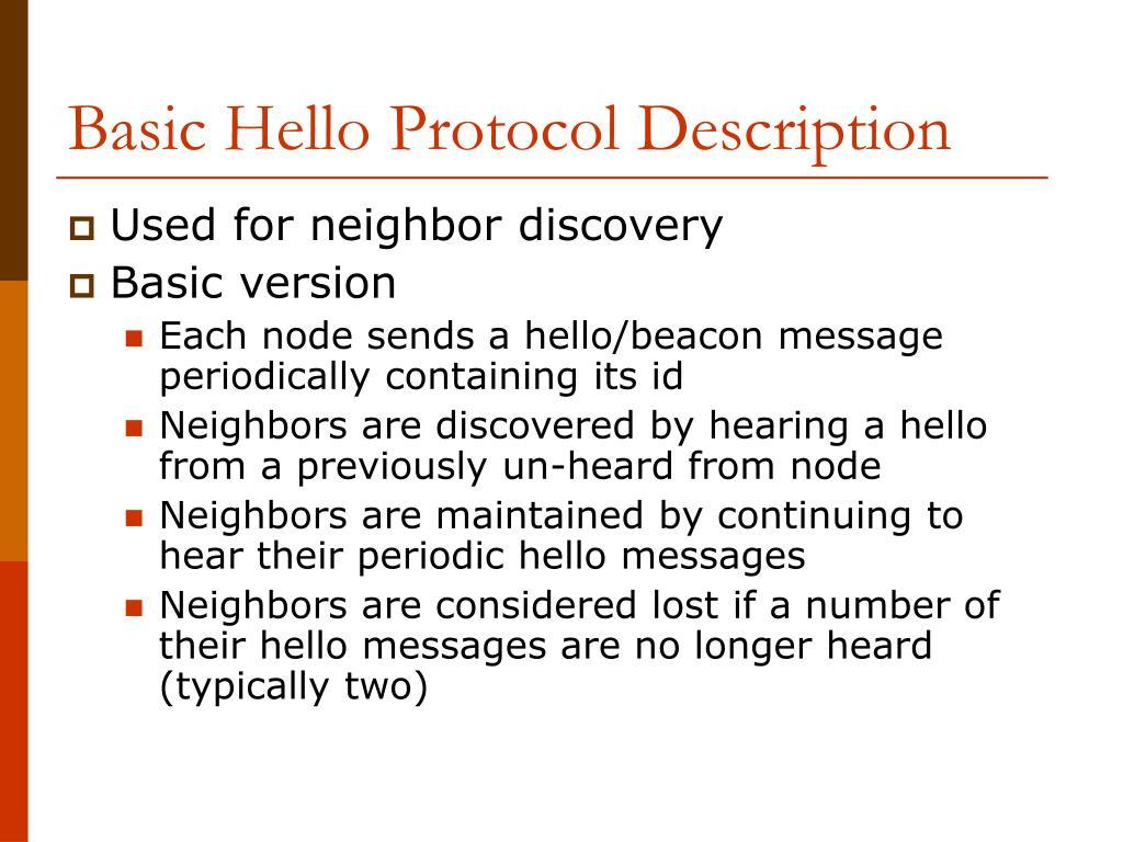 Basic Hello Protocol Description