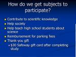 how do we get subjects to participate