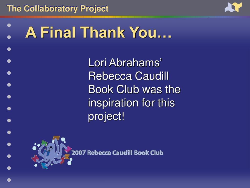 A Final Thank You…