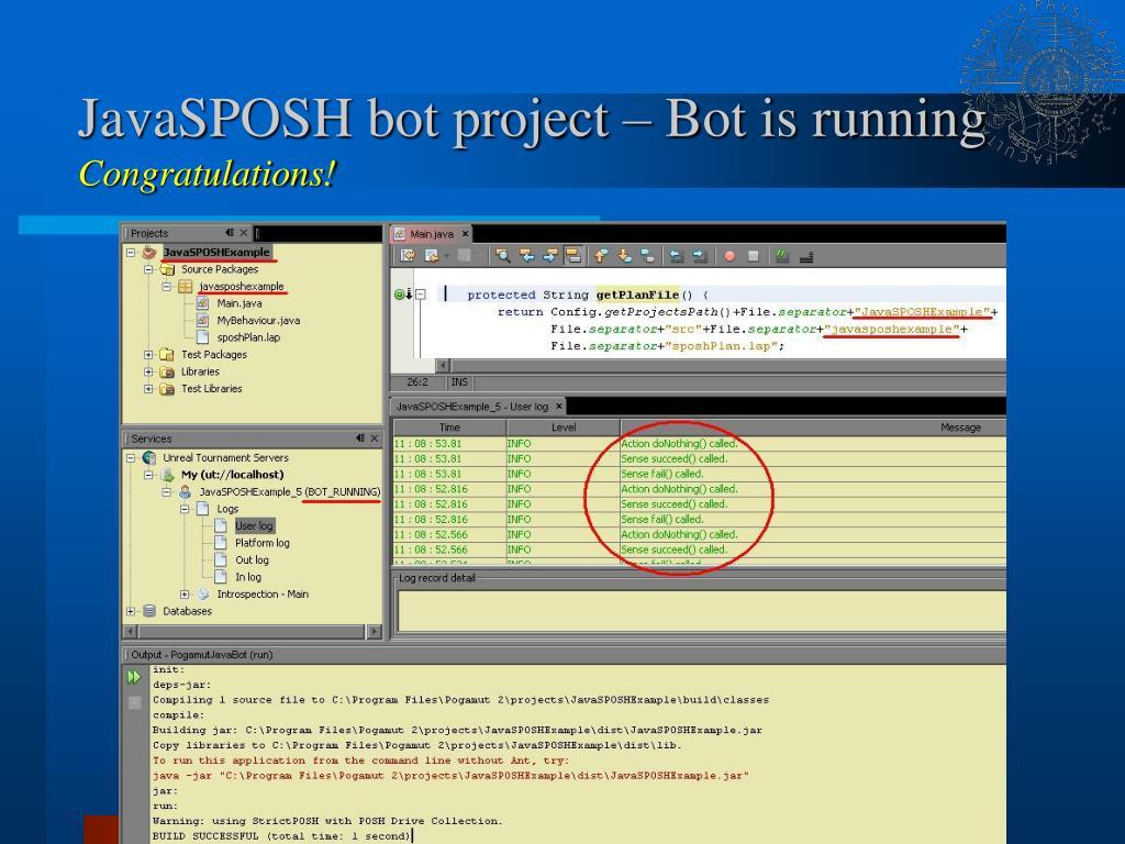 JavaSPOSH bot project – Bot is running