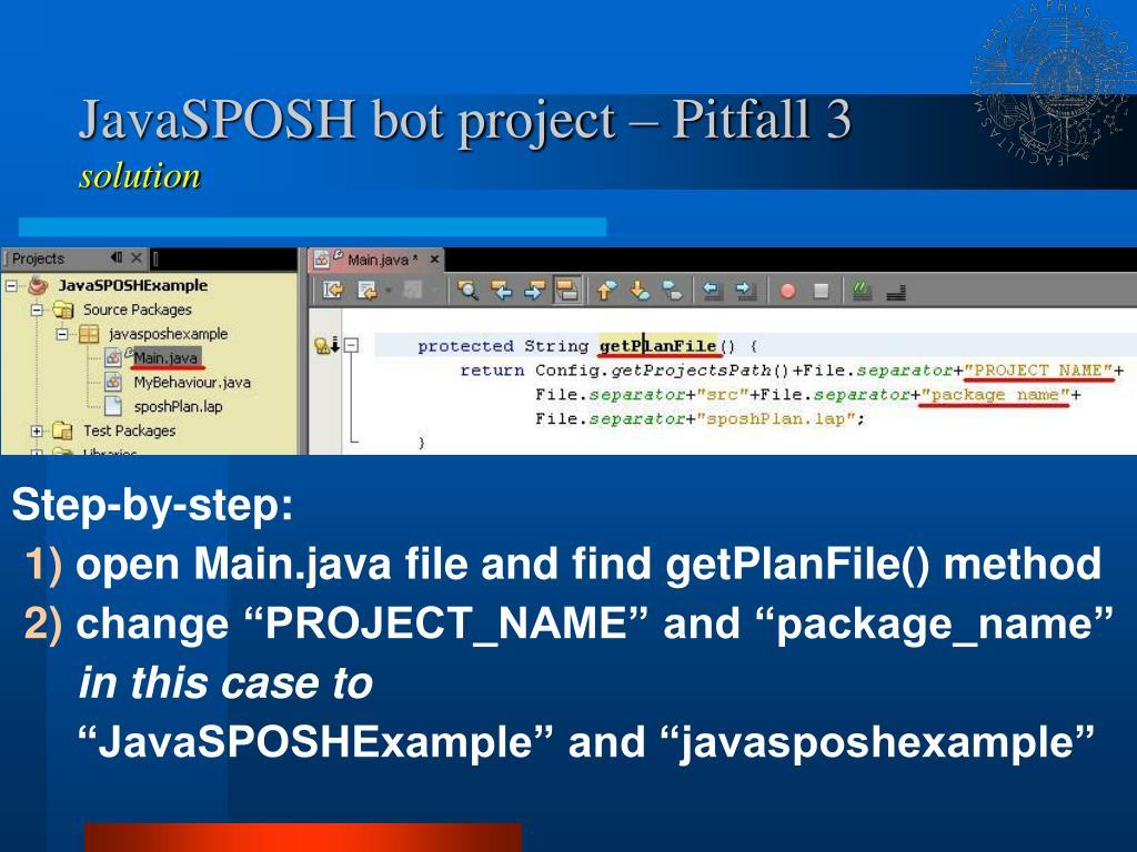 JavaSPOSH bot project – Pitfall 3