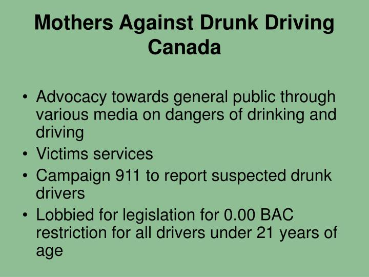 Mothers against drunk driving canada