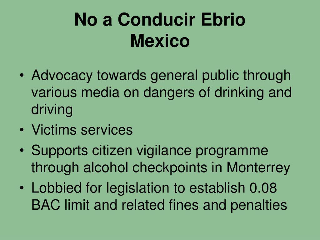 No a Conducir Ebrio