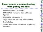 experiences communicating with policy makers