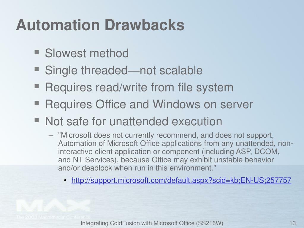 Automation Drawbacks