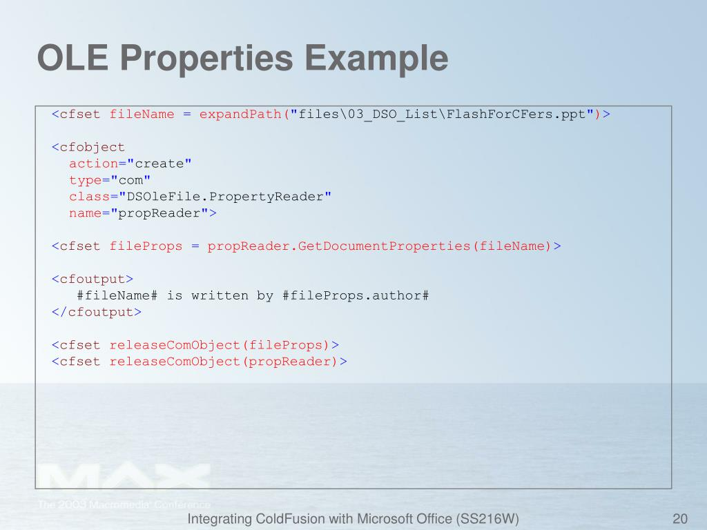 OLE Properties Example